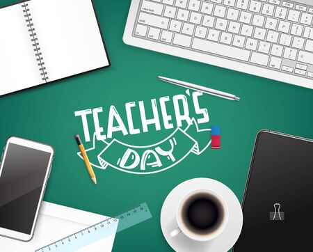 Happy teachers day greeting card. Vector concept top view