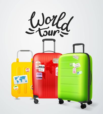 Color modern plastic suitcases with lettering. Travel concept