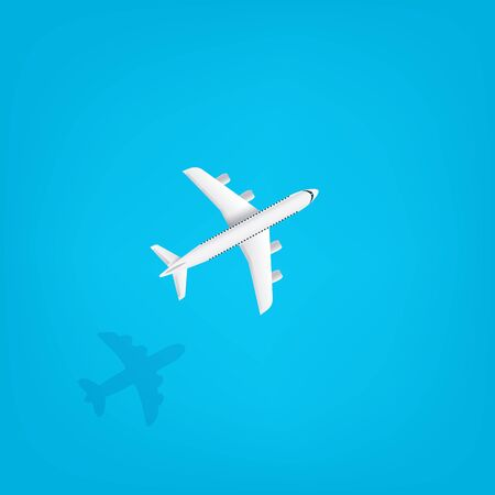 Modern aircraft flying under the sea. Travel vector concept  Stock Illustratie