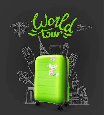 Green modern plastic suitcase with lettering. World tour concept