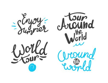 Different lettering isolated on white background. World travel collection Ilustrace