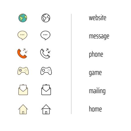 Different web and mobile application icons vector clipart Foto de archivo - 130784769
