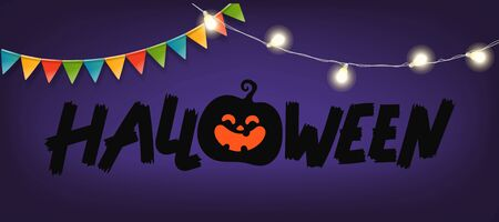 Happy Halloween greeting card. Light and flag garlands