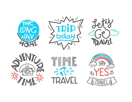 Different lettering isolated on white background. Travel   collection Ilustrace