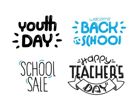 Different lettering isolated on white background. Back to school set