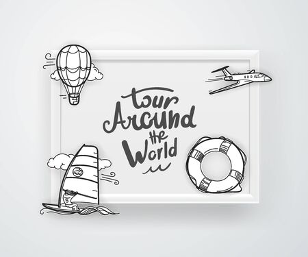 Tour around the world. Frame on a wall. Vector illustration Ilustrace