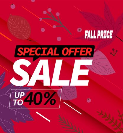 Autumn sale special offer. Up to forfy percent discount vector banner