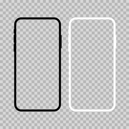 Modern smartphone flat vector mockup. Black and white devices isolated on transparent background