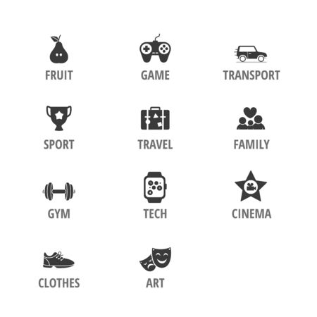 Different vector icons vector set