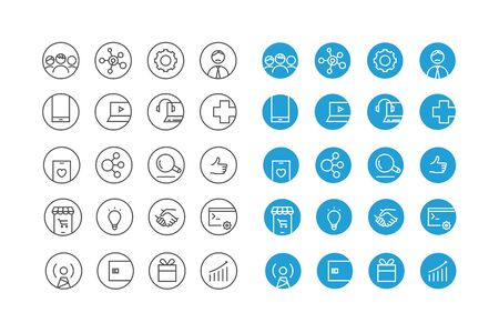 Different circle icons vector set