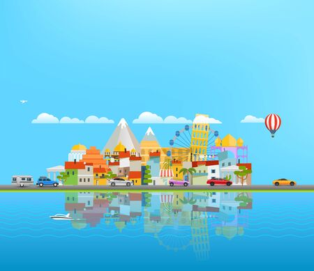 Landscape with different vehicles. Travel concept with copyspace Ilustrace