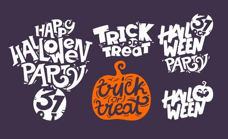 Happy Halloween vector lettering inscription collection