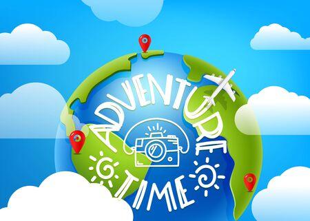 Adventure time comcept. Air travel vector illustration Ilustrace