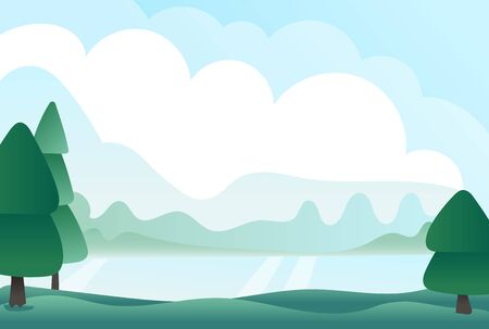 Morning landscape with mountains, forest and river. Vector illustration