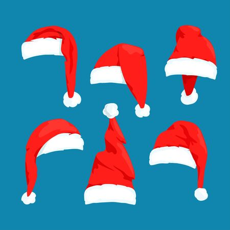 Santa Claus red hats vector set  イラスト・ベクター素材