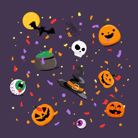 Halloween greeting card concept. Flying paper confetti and holiday accessories