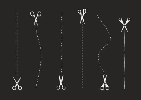 Different types of scissors. Scissors collection isolated on black background