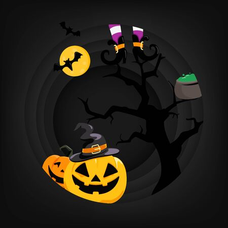 Halloween party card vector template