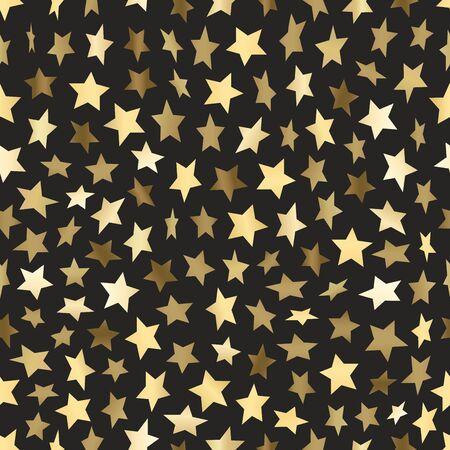 Golden stars seamless vector background