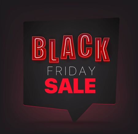 Black friday vector concept with neon letters