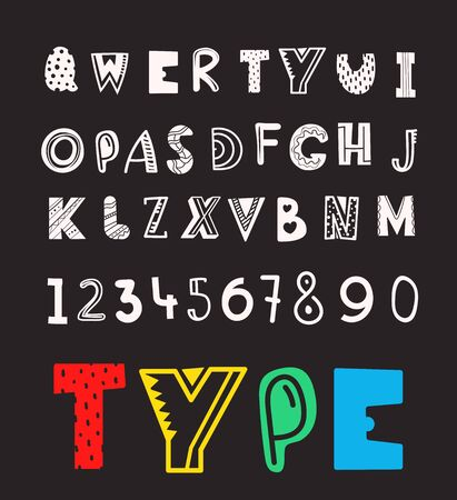 Set of vector letters and digits cartoon style. Comic alphabet template for a messages