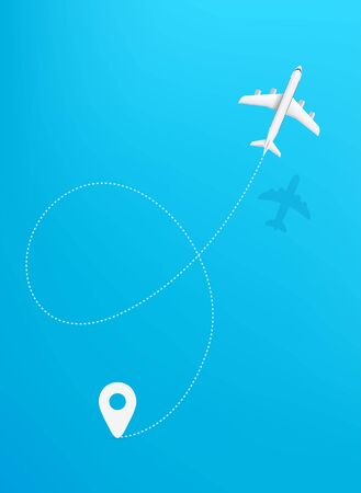 Airplane travel travel concept vector illustration. Travel trajectory with start point