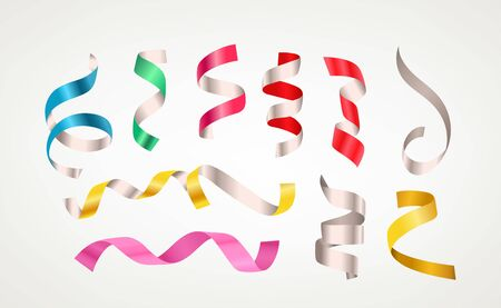 Different color ribbons vector clipart isolated on white background