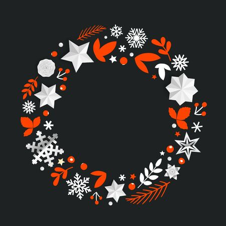 Round decorative frame with Christmas elements. Template for Xmas design and wishes Stock Illustratie