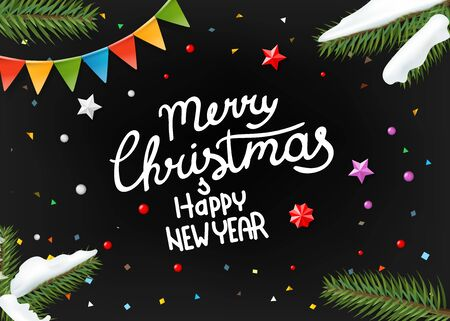 Merry Christmas and Happy new year wishing card