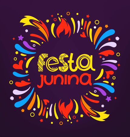 Festa junina festival party flyer. Colorful abstract fireworks with lettering