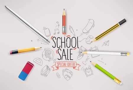 Back to school special offer vector banner
