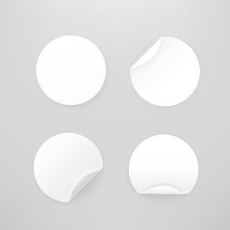 Blank white paper circular stickers vector collection Illusztráció