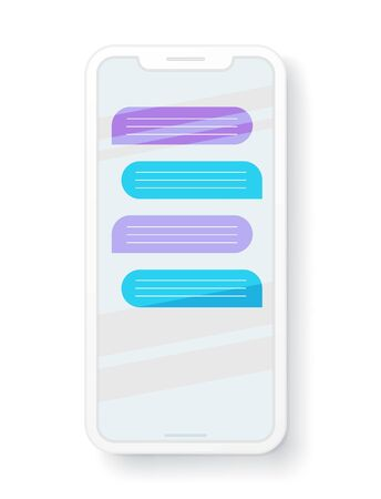 Vector template of modern smartphone with chat balloons Ilustracja