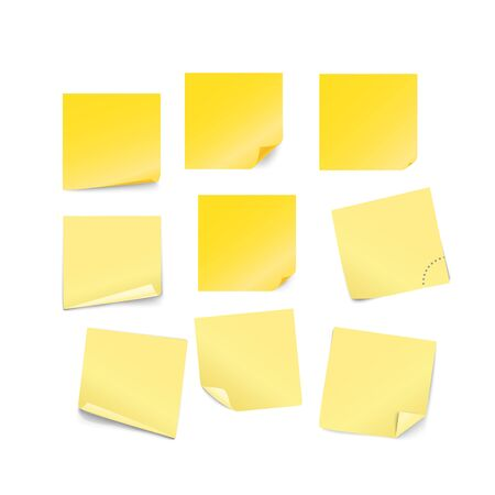 Blank yellow paper stickers vector collection isolated on white background Иллюстрация