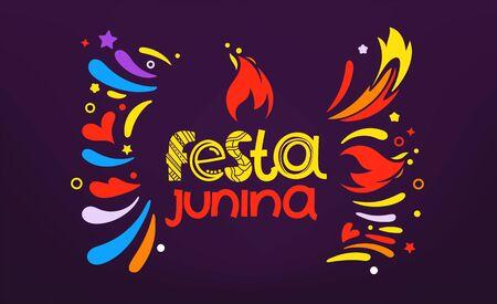 Festa junina festival party flyer. Colorful abstract fireworks with lettering logo Illusztráció