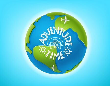 Adventure time vector concept. The Earth and lettering inscription