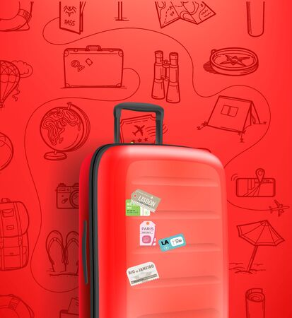 Vertical banner with red travel handbag on red background