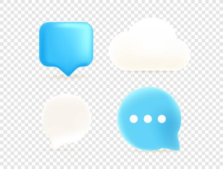 Dialog clouds isolated on transparent background