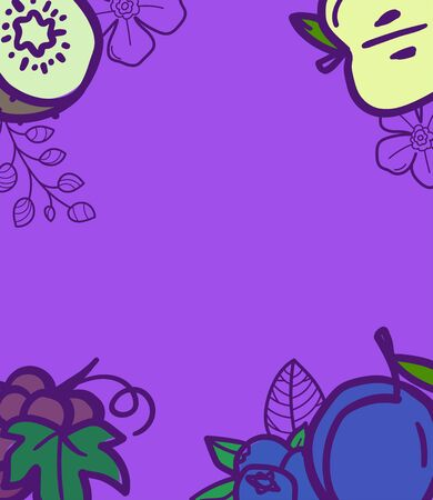 Summer fruits background with copy space for text.