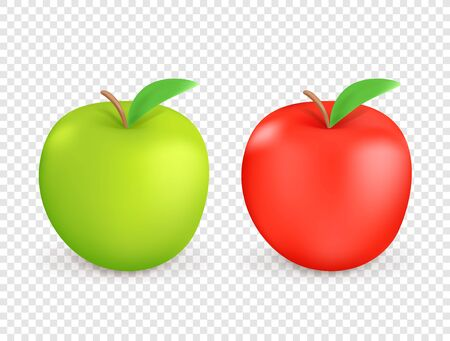 Red and green apples isolated on transparent background