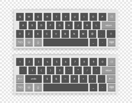 Modern wireless keyboard isolated on transparent background. Top view Vettoriali