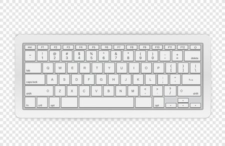 Modern wireless keyboard isolated on transparent background. Top view