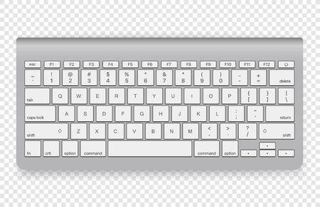 Modern wireless keyboard isolated on transparent background. Top view Vektoros illusztráció