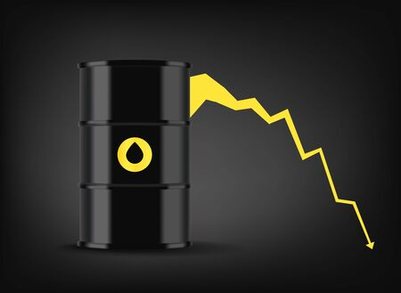 Oil price graphic. Black metal barrel with oil Illusztráció