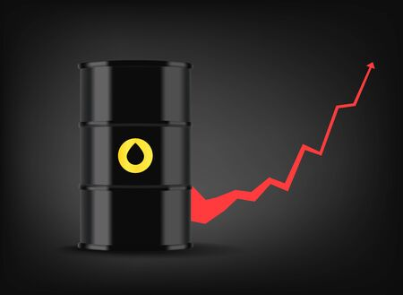Oil price graphic. Black metal barrel with oil. Growing business  Illusztráció