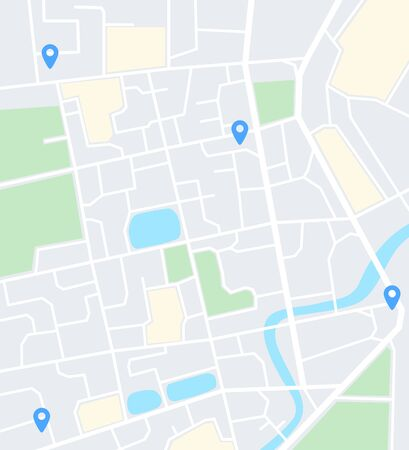 Abstract city map with pins. Navigation app screen template