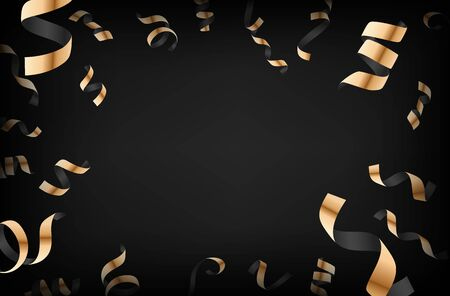 Luxury background with golden falling confetti on dark background