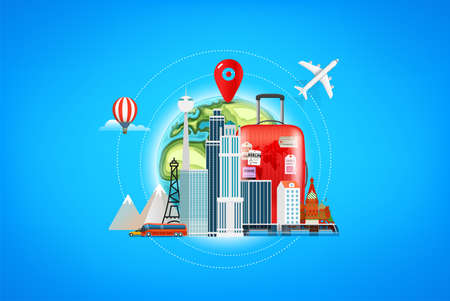 Travel destinations concept illustration
