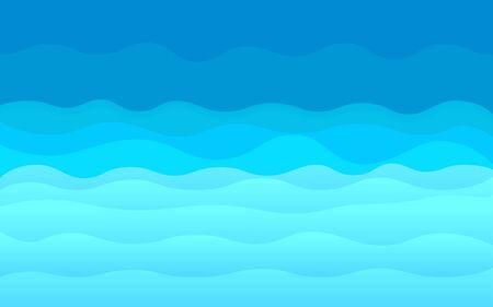 Blue abstract ocean waves vector background Иллюстрация