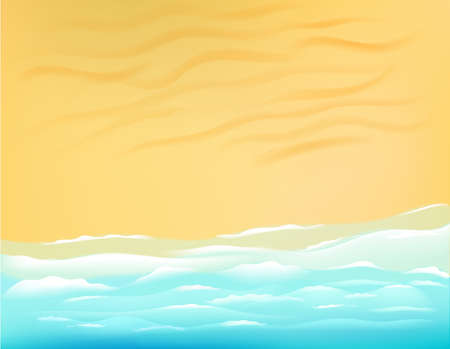 Sunny beach with ocean waves. Vector illustration